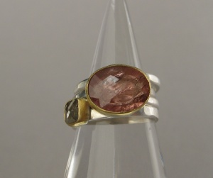 Pick #3Pink Tourmaline Checkerboard Stacking Ring