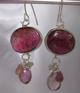 Pick #5Pink Tourmaline & Australian Opal (for inspiration) Earrings