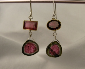 Pick #1:Deep pink and green watermelon tourmaline earrings. Set in 22K gold with sterling silver.