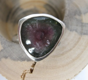 "Pick #2:Watermelon tourmaline slice ring (this is for the ""heart"" chakra). Watermelon tourmalines bring compassion and help express emotional and spiritual love."