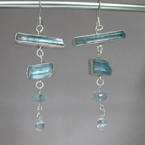 Raw Aquamarine Crystal Earrings