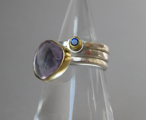 Blue Sapphire Stacking Ring with Rose Cut Lavender Amethyst Ring