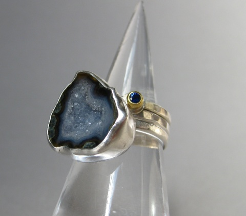 Blue Sapphire Stacking Ring with Baby Geode