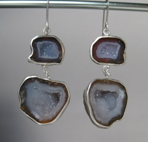 Double Drop Baby Geode Earrings