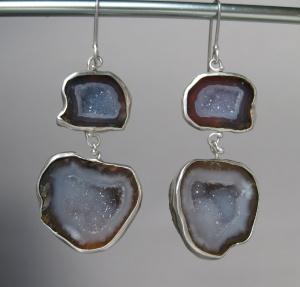 Double Drop Baby Geode Earrings