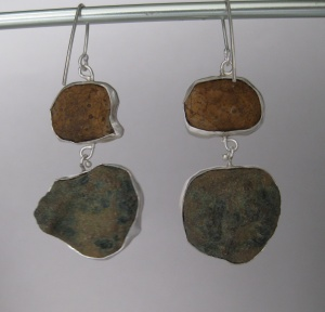 The Back of the Double Drop Baby Geode Earrings