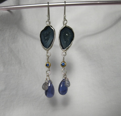 Baby Geode Earrings with Sapphires and Iolite
