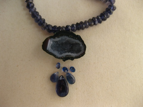 Idea for Baby Geode Necklace with Sapphires and Iolite