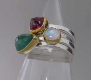 Stacking Rings: Ruby, Emerald (set upside down) with Opal