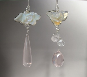"""Miss"" Matched Australian Opal ""Flower"" Earrings with Rose Quartz"