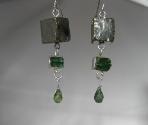 Pyrite Cube & Raw Green Tourmaline Crystal Earrings