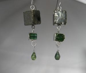 Pyrite Cube & Raw Green Tourmaline Crystal Earrings