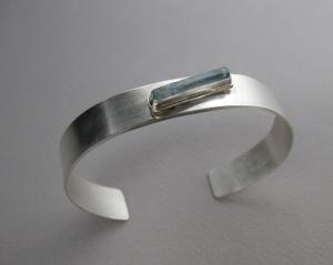 Raw Aquamarine Crystal & Sterling Silver Cuff Bracelet