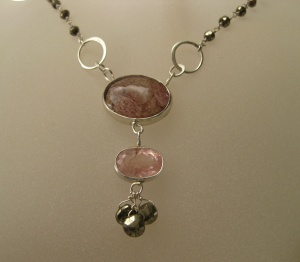 Rare Rutile Amethyst & Pink Morganite Pendant /Necklace with Pyrite