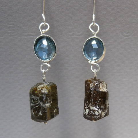 Rose Cut London Blue Topaz Earrings with Raw Brown Tourmaline Crystals.