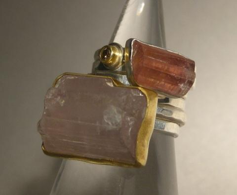 Raw Pink Kunzite Crystal Ring with Raw Pink Tourmaline Crystal & Diamond Stacking Rings.