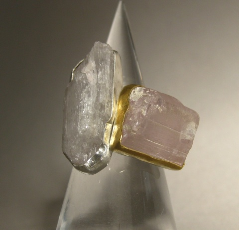 Raw Pink Kunzite Crystal Rings