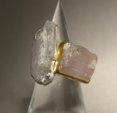 Raw Pink Kunzite Crystal Rings