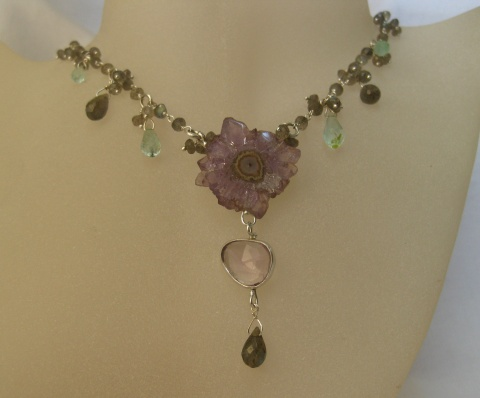 Stalactite Necklace with Rose Cut Lavender Amethyhst, Labradorite & Emerald Briolettes