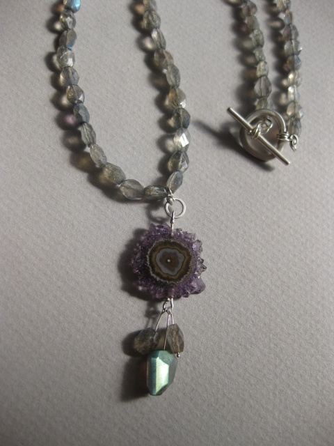 Stalactite Pendant with Labradorite Necklace & Handmade Toggle Clasp