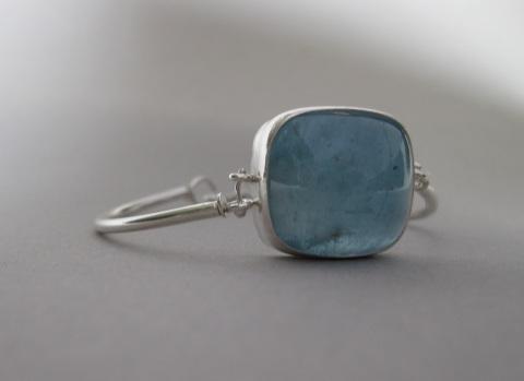 Big Square Aquamarine Cabochon Bracelet