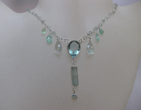 Necklace with Raw Aquamarine Crystal Fluorite & Emerald Briolettes Pear Fluorite  Australian Opal on Green Amethyst (Priasolite) & Silver Chain