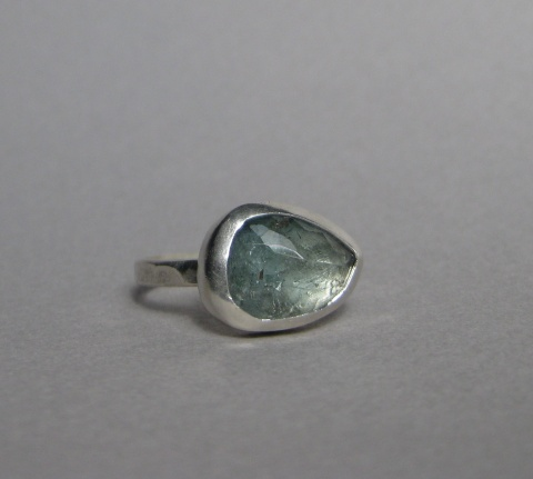 Rose Cut Moss Aquamarine Ring