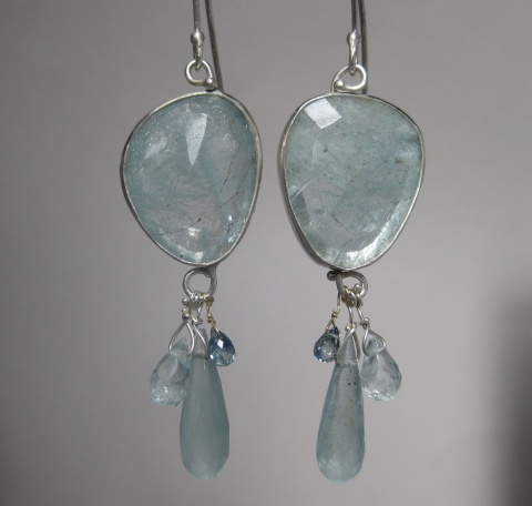 Freeform Rose Cut Aquamarine Earrings with Aquamarine Drops, Aquamarine & Sapphire Briolettes