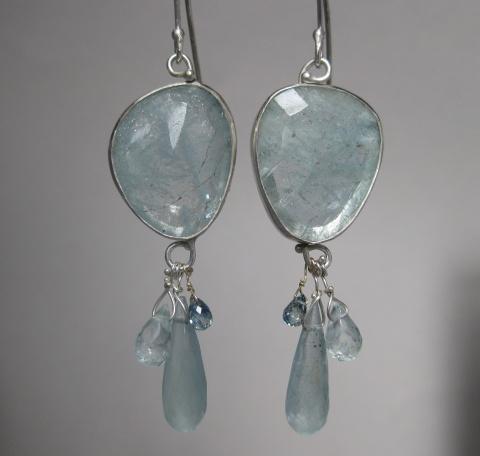 Freeform Rose Cut Aquamarine Earrings with Aquamarine Drops, Aquamarine & Sapphire Briolettes