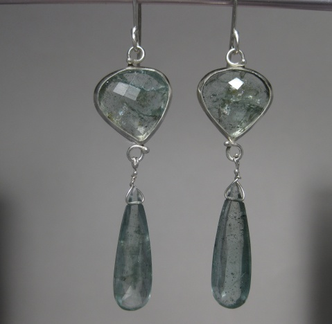 Rose Cut Moss Aquamarine Earrings with Drops