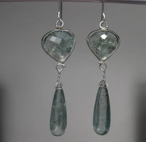Rose Cut Moss Aquamarine Earrings with Drops