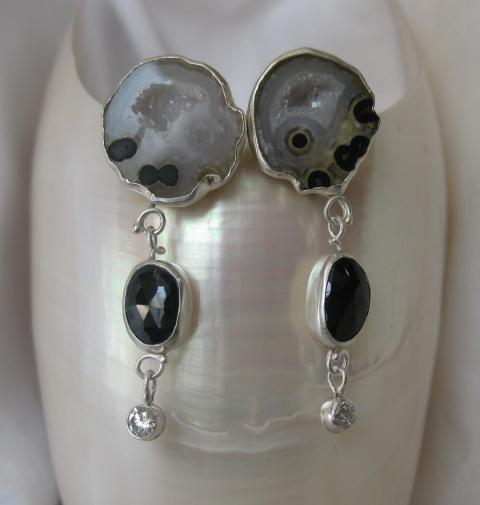 Baby Geode Rose Cut Black Spinel & Diamond Earrings