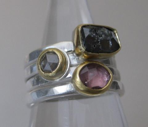 Black Rose Cut Rectangular Diamond, Rose Cut Round Diamond & Rose Cut Pink Sapphire Stacking Rings