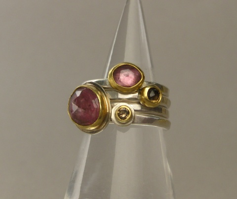 Rose Cut Pink Sapphire, Rose Cut Cognac Diamond, Rose Cut Pink Tourmaline and Champage Diamond Stacking Rings