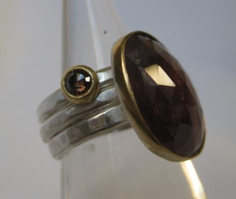 Round Rose Cut Cognac Diamond & Rose Cut Sapphire Stacking Rings