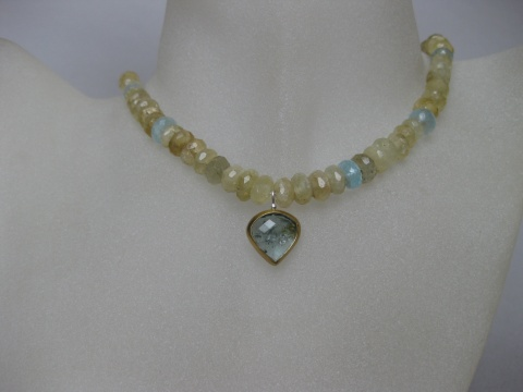 Facelete Heliodor (Yellow Beryl) Strand Choker with Rose Cut Pear Moss Aquamarine