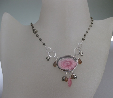 Rhodochrosite Stalactite Slice Necklace with Pyrite & Andalusite Garnet Briolettes