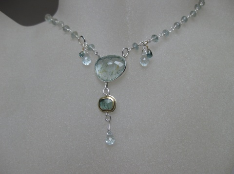 Rose Cut Aquamarine Blue Tourmaline Necklace with Sapphire Briolettes