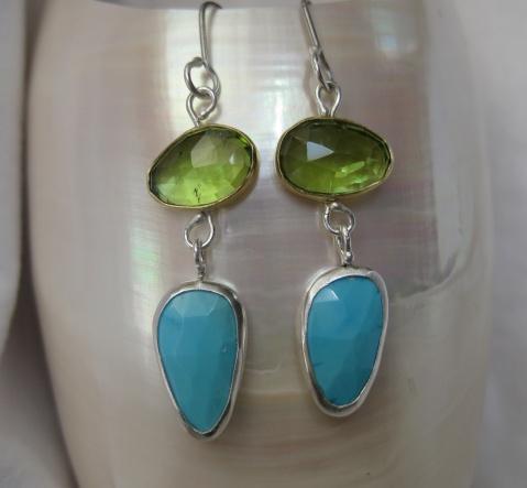 Rose Cut Peridot Earrings With Rose Cut Turquoise Drops