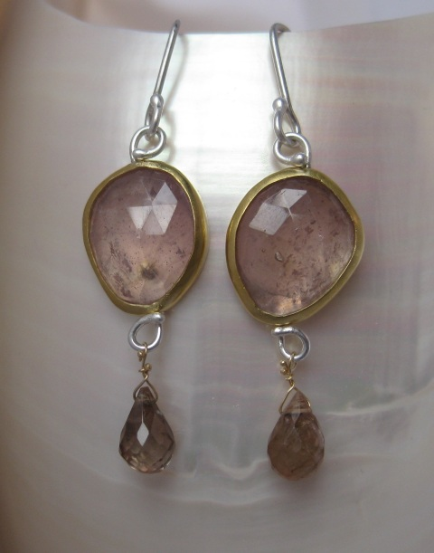 Rose Cut Pink Sapphire Earrings with Andalusite Garnet Briolettes