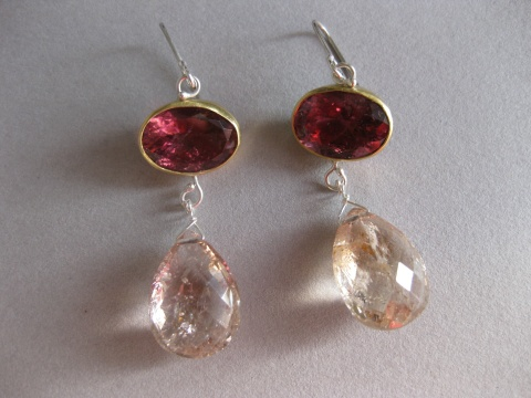 Deep Pink Rubelite Earrings with Morganite Briolette Drops
