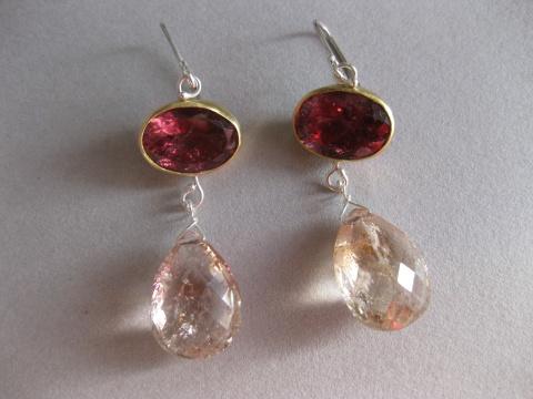 Deep Pink Rubelite Earrings with Morganite Briolette Drops