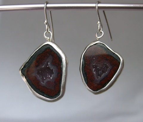 Red Baby Geode Earrings