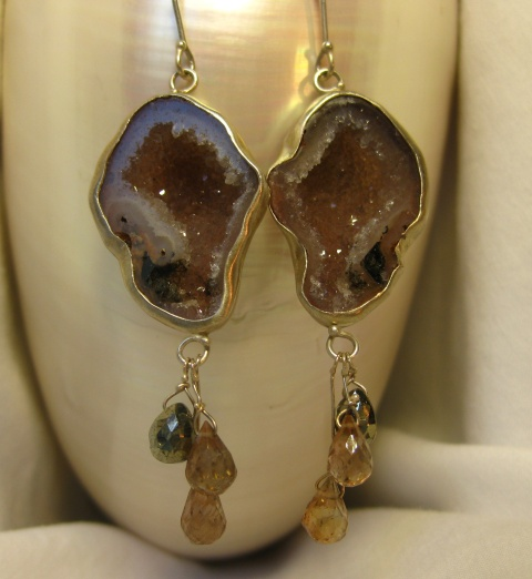 Baby Geode Earrings with Andalusite Garnet Briolettes