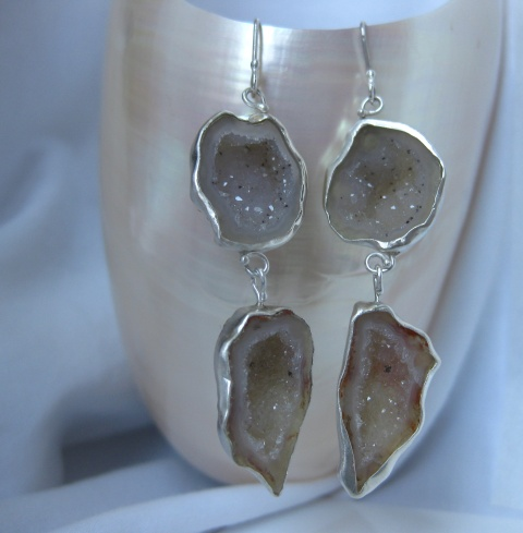 Creamy White Druzy Double Drop Baby Geode Earrings