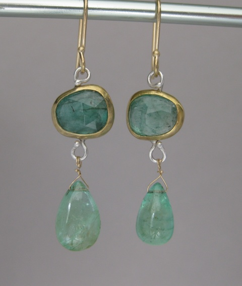 Rose Cut Natural Emerald Drop Earrings