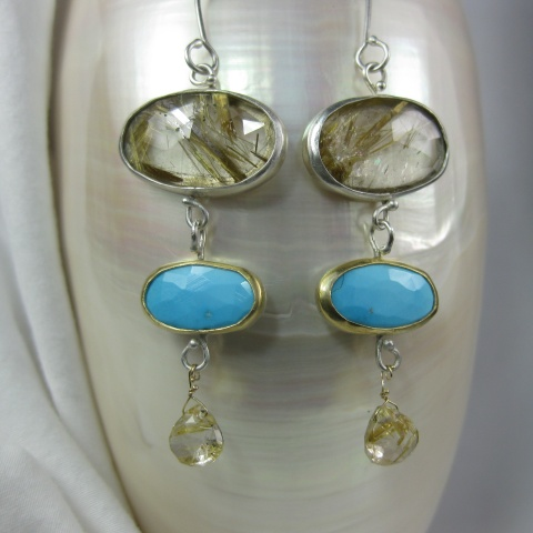 Rose Cut Golden Rutilated Quartz Earrings with Rose Cut Turquoise & Rutile Briolettes