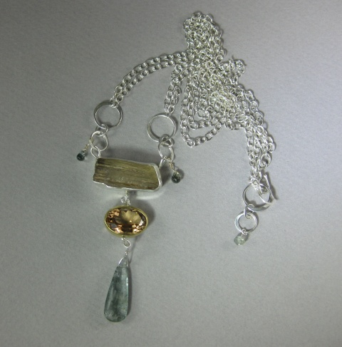 Raw Scapolite Crystal, Yellow Beryl, Moss Aquamarine & Sapphire Talisman Necklace