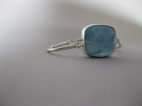 Square Aquamarine Cabochon Bracelet