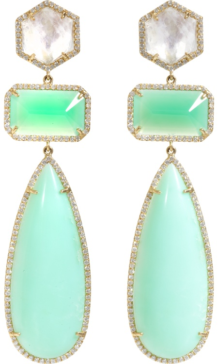 Irene Neuwirth Earrings - Chrysoprase Moonstone & Diamonds